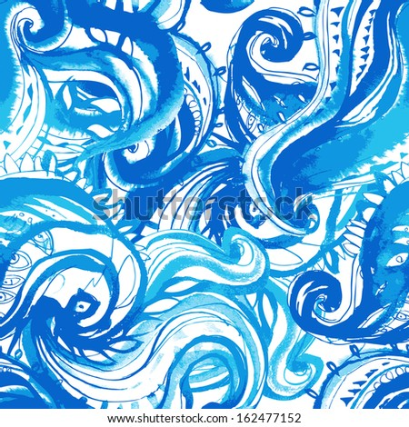 Elegant blue seamless pattern painted with watercolor  - stock vector