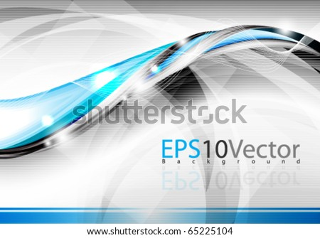 Elegant blue wave background - stock vector