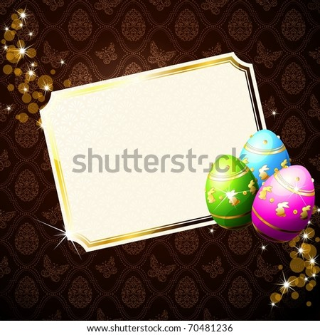 Elegant brown background with gold-decorated Easter eggs. Includes Transparencies (eps10); jpg version also available - stock vector