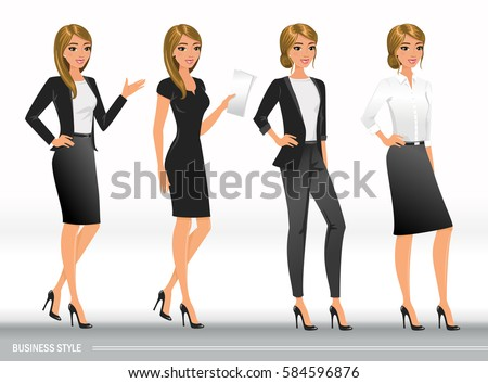 young women elegant office clothes stock vector 345480914