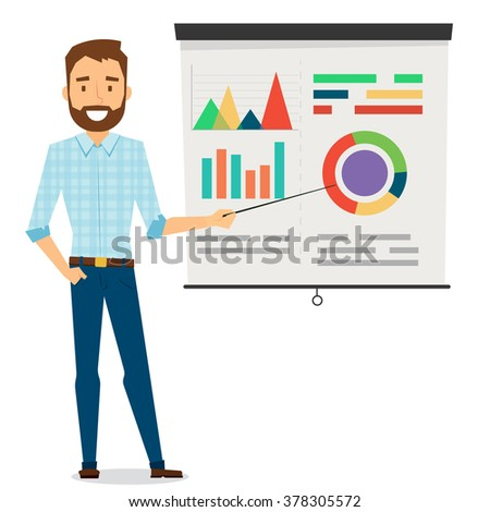 Elegant Businessman Character Design With Presentation - stock vector