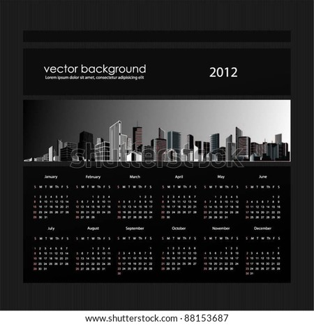 elegant calendar design for year 2012. - stock vector