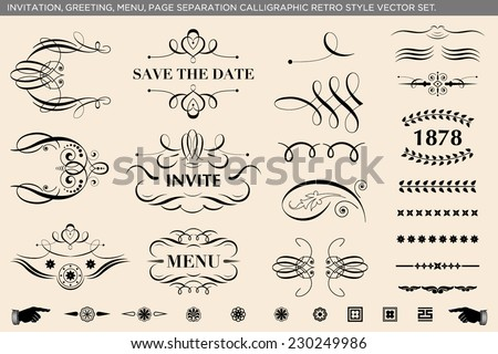 Elegant calligraphic ornaments and page dividers. Retro style vector set.