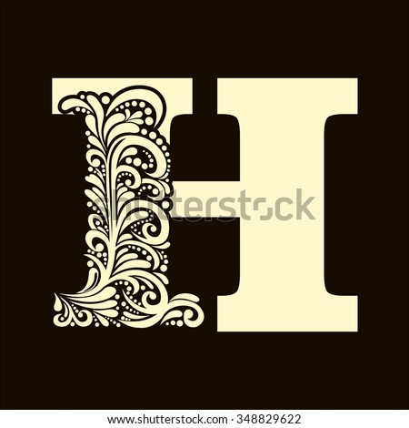 Elegant capital letter H  in the style of the Baroque. To use monograms, logos, emblems and initials. - stock vector