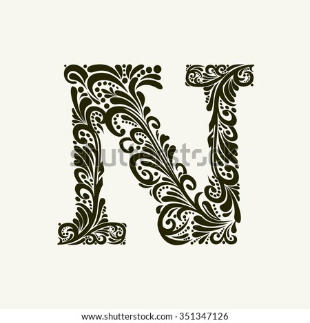 Elegant capital letter N in the style of the Baroque. To use monograms, logos, emblems and initials. - stock vector