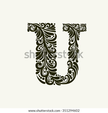 Elegant capital letter U in the style of the Baroque. To use monograms, logos, emblems and initials. - stock vector