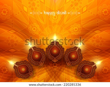 Elegant card design for traditional Indian festival Diwali with lamp. vector illustration - stock vector
