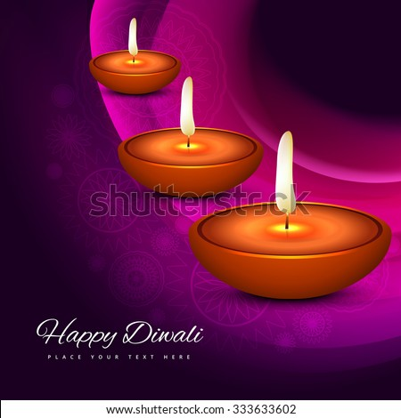 Elegant card design of traditional Indian festival Happy Diwali with colorful background vector - stock vector