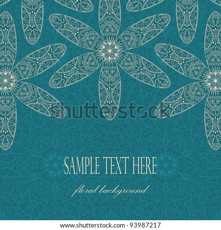 Elegant card with flowers on lace background - stock vector