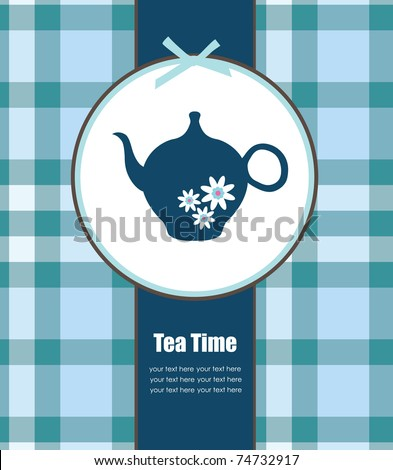 elegant card with teapot. vector illustration - stock vector