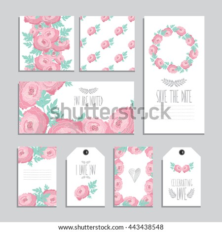 elegant cards gift tags ranunculus floral stock vector 443438548