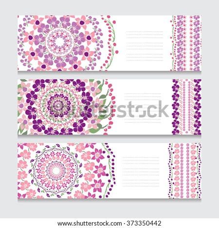 Elegant cards with decorative flowers, design elements. Can be used for wedding, baby shower, mothers day, valentines day, birthday cards, invitations. Floral banners - stock vector