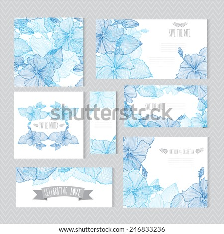 Elegant cards with decorative hibiscus flowers, design elements. Can be used for wedding, baby shower, mothers day, valentines day, birthday cards, invitations, greetings. Vintage decorative flowers. - stock vector
