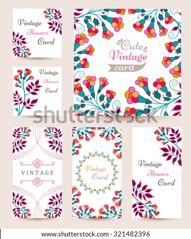 Elegant cards with decorative multi colored flowers, design elements. Can be used for wedding, baby shower, mothers day, valentines day, birthday cards, invitations, greetings and romantic labels - stock vector