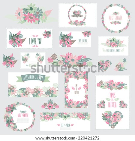 Elegant cards with floral bouquets, hearts and wreath, design elements. Can be used for wedding, baby shower, mothers day, valentines day, birthday cards, invitations. Vintage decorative flowers. - stock vector
