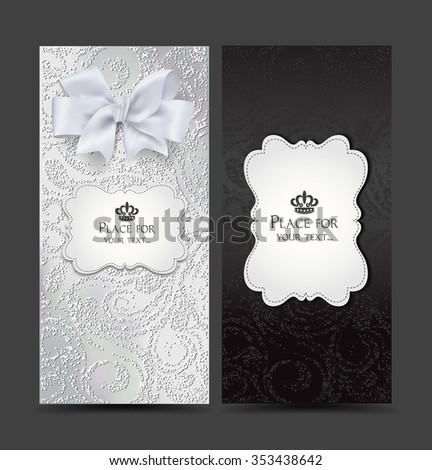 Elegant cards with floral design - stock vector