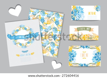 Elegant cards with floral wreath, design elements. Can be used for wedding, baby shower, mothers day, valentines day, birthday cards, invitations. Vintage decorative flowers. - stock vector