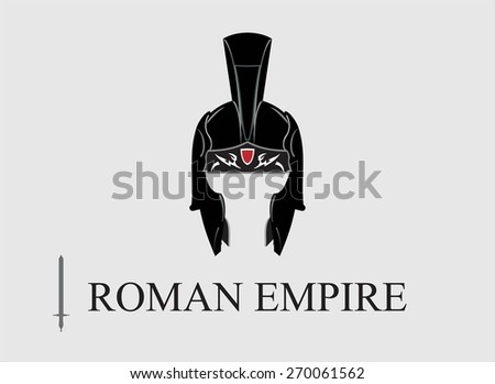 Elegant Centurion helmet, combine with text. Symbol of the Emperor, The Roman Empire. Symbol of the Greatest. An illustration of the emperor icon combine horizontally with text and sword icon. - stock vector
