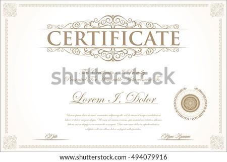 Certificate diploma template elegant golden spiral stock vector elegant certificate or diploma template yelopaper Gallery
