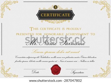 Elegant certificate template design emblem border stock vector elegant certificate template design with emblem border on white background a4 size bleed yadclub Choice Image