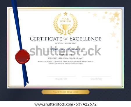 Elegant certificate template excellence achievement appreciation elegant certificate template for excellence achievement appreciation or completion on blue border background pronofoot35fo Choice Image