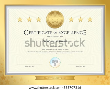 Elegant Certificate Template Excellence Achievement Appreciation