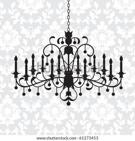 Elegant chandelier  over damask background - stock vector