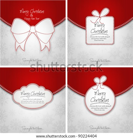 Elegant Christmas Background Set For Xmas Card - stock vector