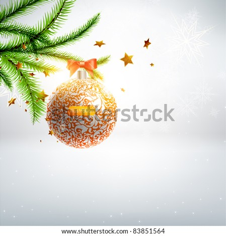 elegant christmas background with baubles - stock vector