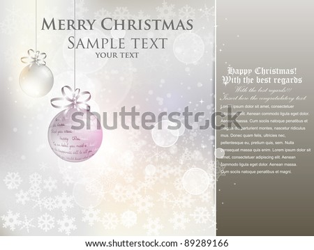 elegant christmas background with baubles and  bokeh - stock vector