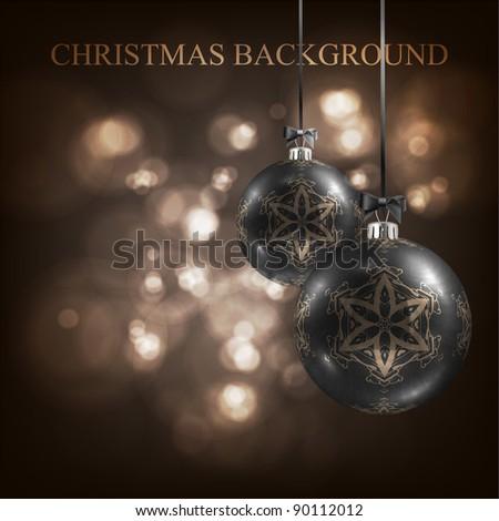 elegant Christmas background with black evening balls, bokeh background - stock vector