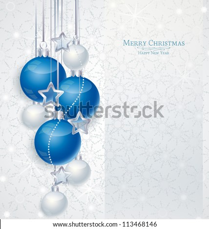 Elegant Christmas background with blue and silwer  baubles - stock vector
