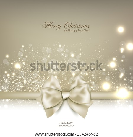 Elegant Christmas background with bow and place for text. Vector Illustration.