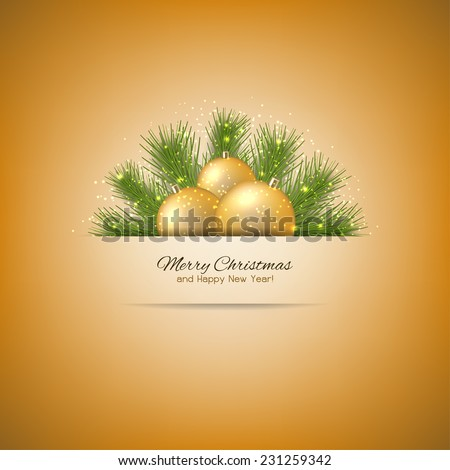 Elegant Christmas background with Christmas tree and Christmas toys. Vector design of Christmas background for your design. - stock vector