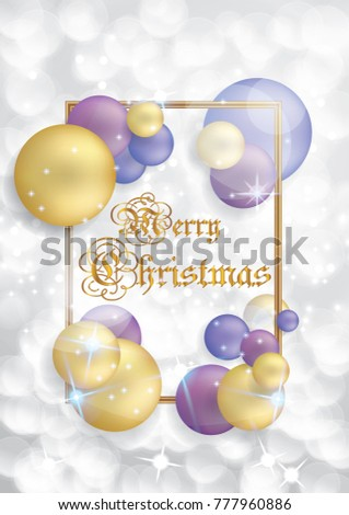 Elegant Christmas background with gold and violet balls