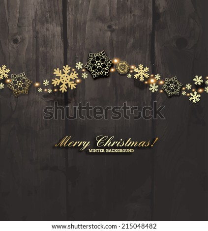 Elegant Christmas Background with Gold Snowflakes. Wood Texture Background. - stock vector