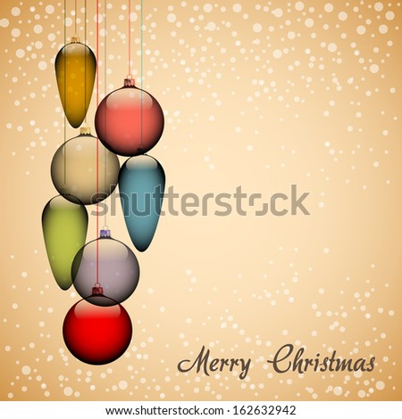 Elegant christmas background with golden baubles and flakes - vector illustration - stock vector