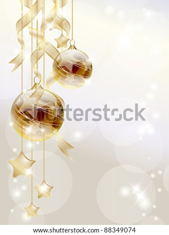 Elegant Christmas background with golden baubles and stars - stock vector
