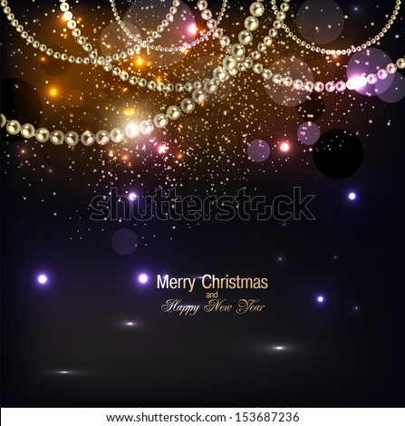 Elegant christmas background with golden garland. Vector illustration - stock vector