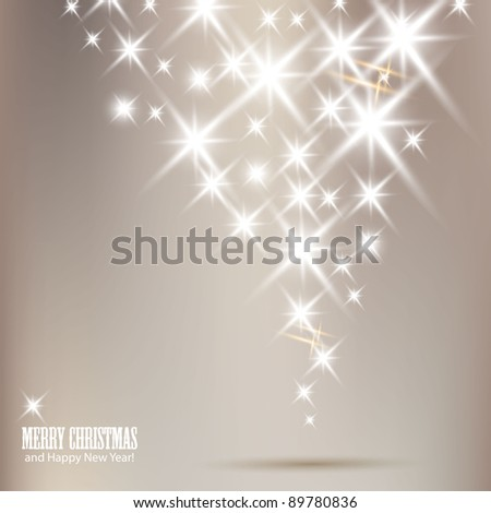 Elegant Christmas background with shiny stars and place for text. Vector Illustration. - stock vector