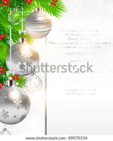 elegant Christmas background with silver and glass evening balls