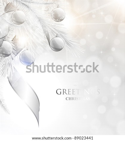Elegant Christmas background with silver baubles and stars - stock vector