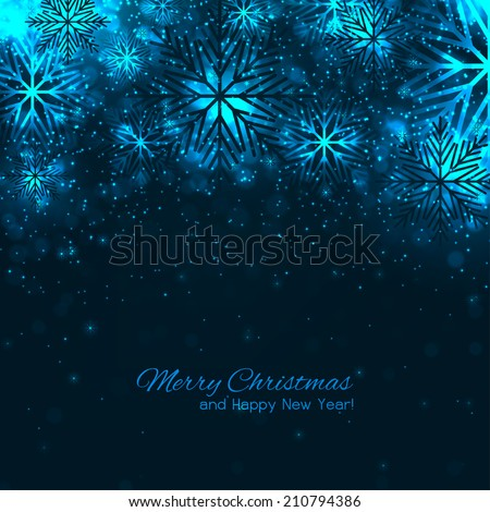 Elegant christmas background with snowflakes - stock vector