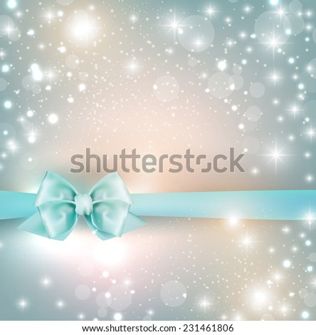 Elegant Christmas background with snowflakes and blue bow. Vector Illustration. - stock vector