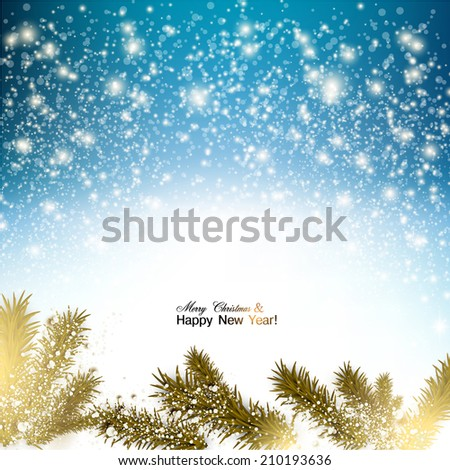 Elegant Christmas background with snowflakes and branches in snow. Vector Illustration. - stock vector