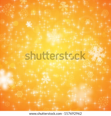 Elegant Christmas Background with Snowflakes, Orange version, vector - stock vector