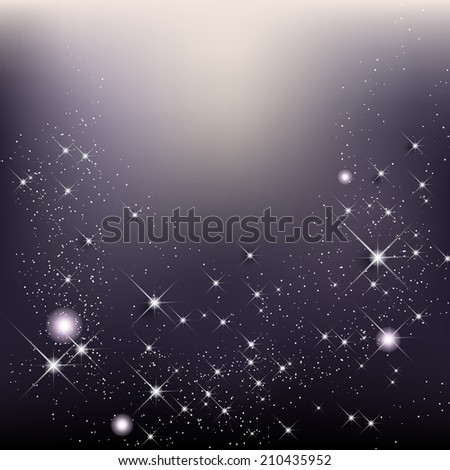Elegant christmas background with stars and shines - vector illustration - stock vector