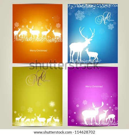 Elegant Christmas banners with deers. Vector Illustration with place for text. - stock vector