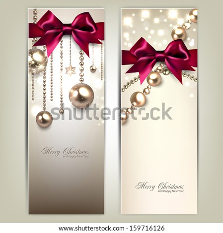 Elegant Christmas banners with golden baubles and red bows. Vector illustration