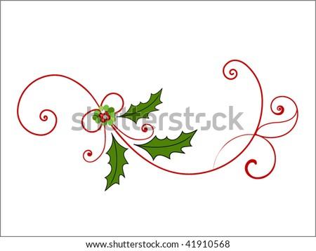 elegant christmas flourish  (pieces for changes) - stock vector